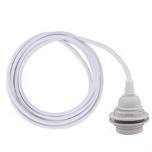 White cable 3 m. w/plastic lamp holder w/2 rings E27