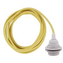 Yellow cable 3 m. w/plastic lamp holder w/2 rings E27