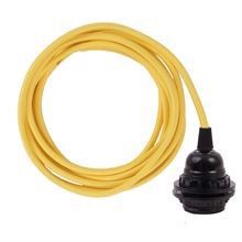 Dark yellow cable 3 m. w/bakelite lamp holder w/2 rings E27