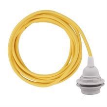Dark yellow cable 3 m. w/plastic lamp holder w/2 rings E27