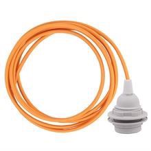 Pale orange cable 3 m. w/plastic lamp holder w/2 rings E27