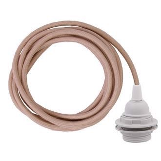 Dusty Pale pink cable 3 m. w/plastic lamp holder w/2 rings E27