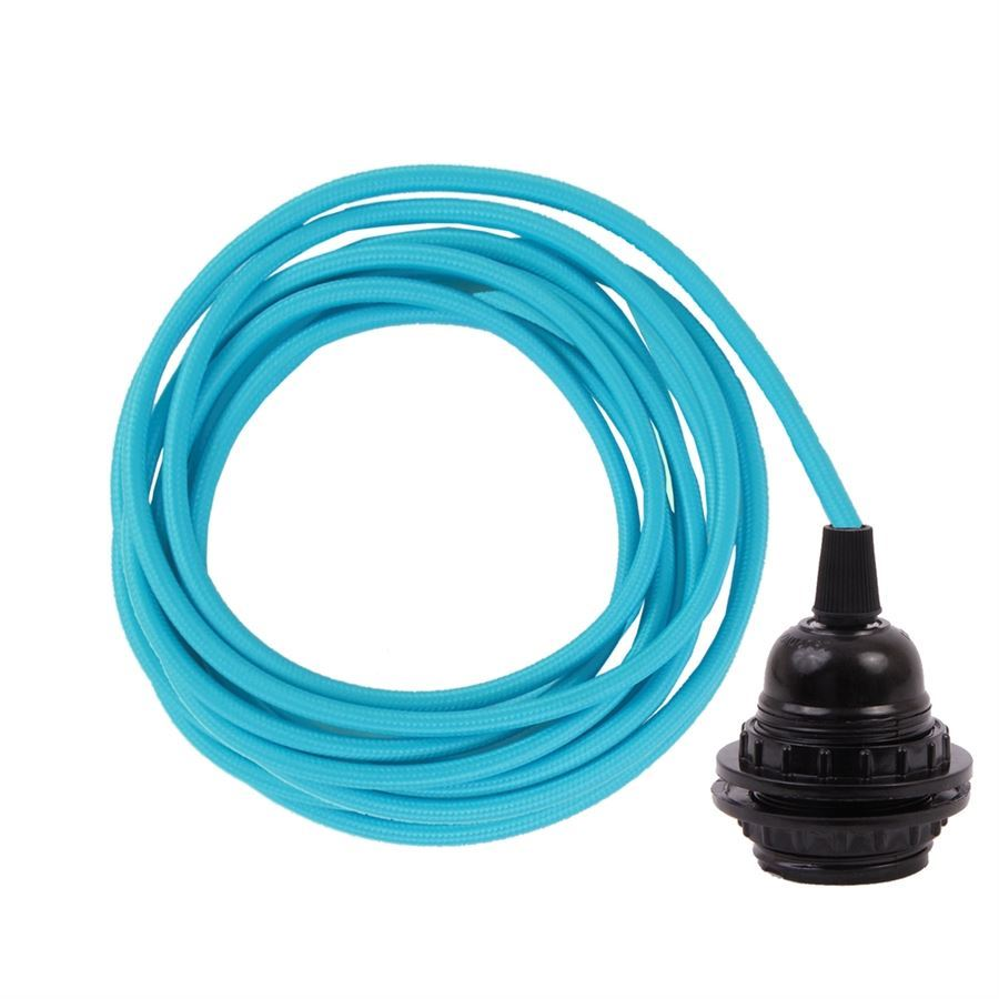Clear blue cable 3 m. w/bakelite lamp holder w/2 rings E27