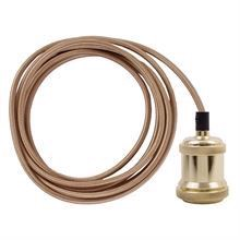 Gold cable 3 m. w/brass lamp holder E27