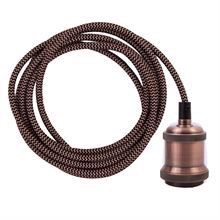 Copper Snake cable 3 m. w/dark copper lamp holder E27