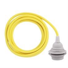 Dusty Yellow cable 3 m. w/plastic lamp holder w/2 rings E27