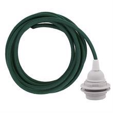 Dusty Dark green cable 3 m. w/plastic lamp holder w/2 rings E27