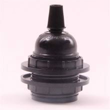 Black bakelite lamp holder for shade
