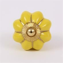 Yellow melon knob w/gold