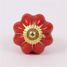 Red melon knob w/gold