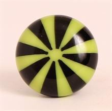 Black/lime green polyresin knob