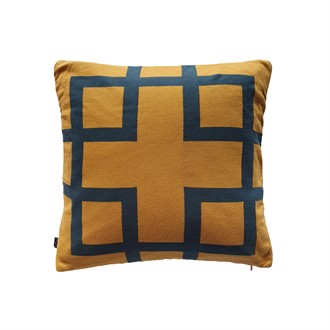 Square knitted cushion cover 50x50 Honey Petrol