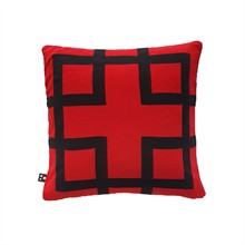 Square knitted cushion cover 50x50 Red Black