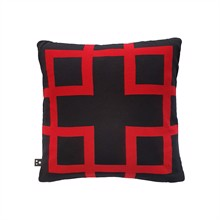 Square knitted cushion cover 50x50 Black Red