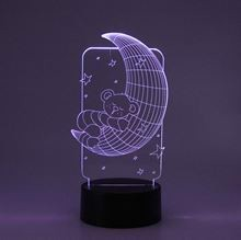 3D LED Night lamp Moon Bear